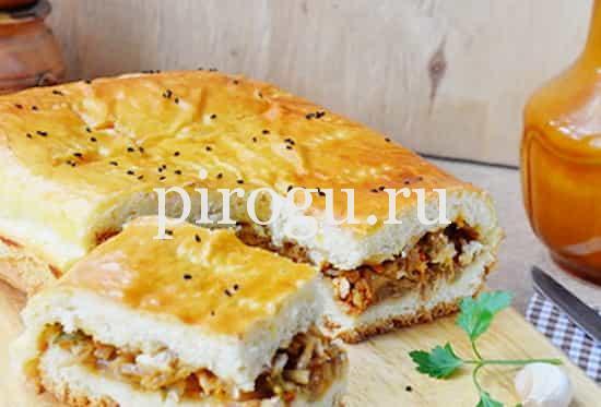 рецепт пирога с фаршем и капустой